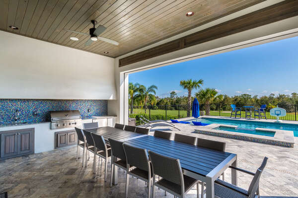 The outdoor dining space is perfect for dining al fresco