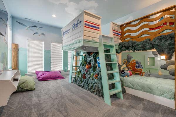 The kids bedroom with custom bunk beds