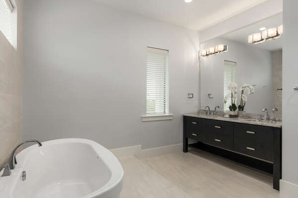 This bathroom is spacious enough for any couple