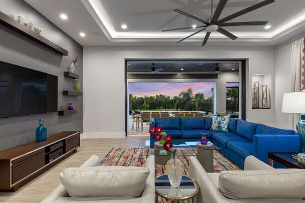 The open floorplan and large sliding glassdoors provide you great views