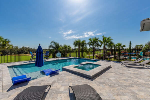 The pool area will be your outdoor oasis