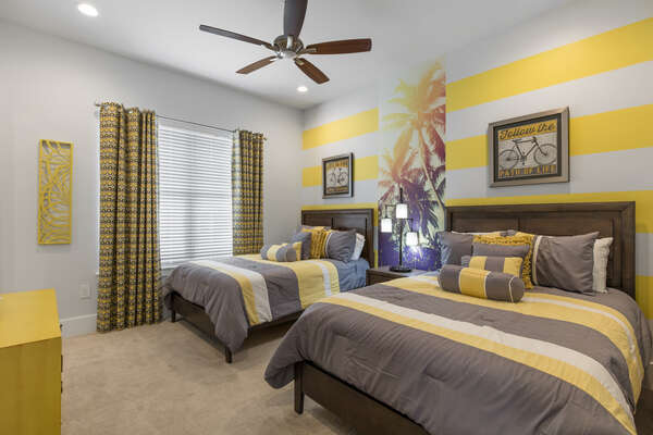 Contemporary style bedroom with two full beds