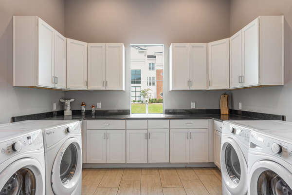 Enjoy two washers and dryers to wash your clothes during your stay