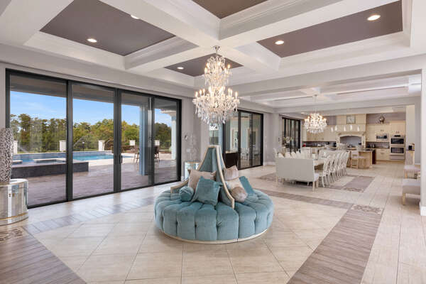 Admire the gorgeous chandelier