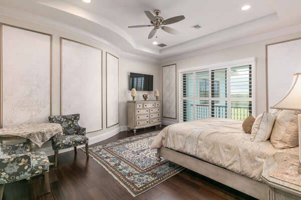 Mediterranean Sea Suite features a king size bed, SMART TV, and access to patio balcony