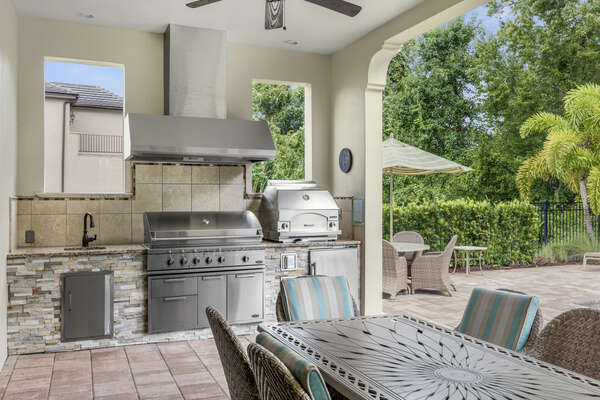 This gourmet summer kitchen is the perfect place to celebrate with a barbecue