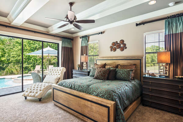 Indulge in spaciousness and luxurious touches featured in downstairs master suite 1 bedroom