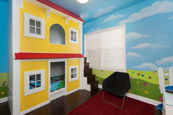 Kids will love this fun custom bedroom with their favorite characters and their own 60-inch SMART TV