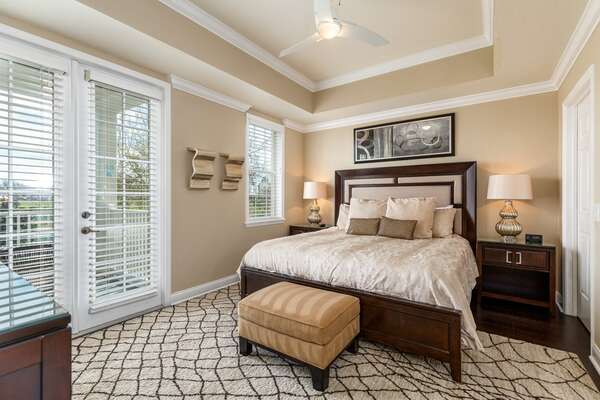 The master suite features a plush King bed