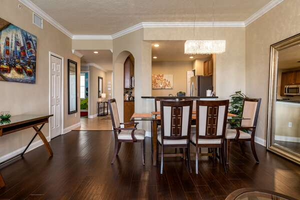 The whole family can dine together at the formal dining table seating 6