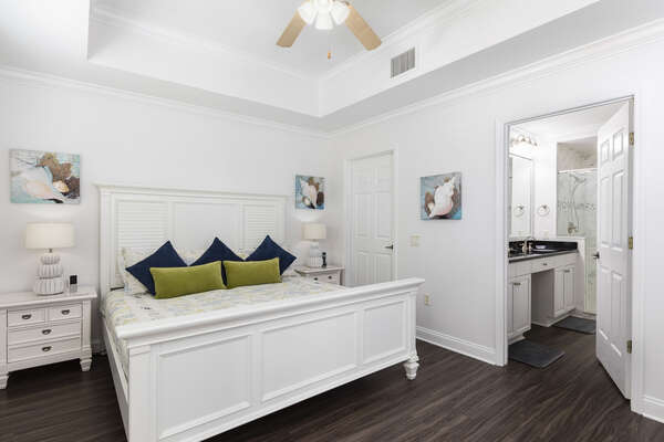The master bedroom features a comfortable King sized bed and ensuite bathroom