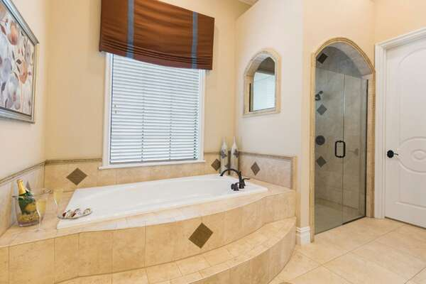 Master suite bathroom 2 features a fantastic garden tub perfect for the ultimate relaxation bath