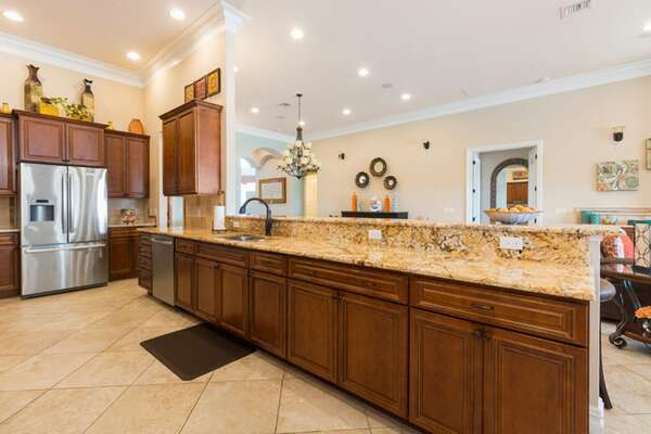 There is plenty of room to preapre snacks, drinks and desserts in your open kitchen
