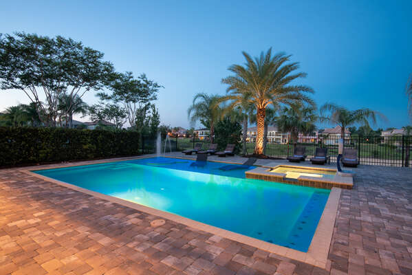 Enjoy nights out by your private pool