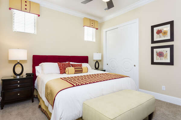 Upstairs king bedroom with large closets