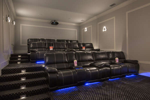 This amazing home theater features seating for 12