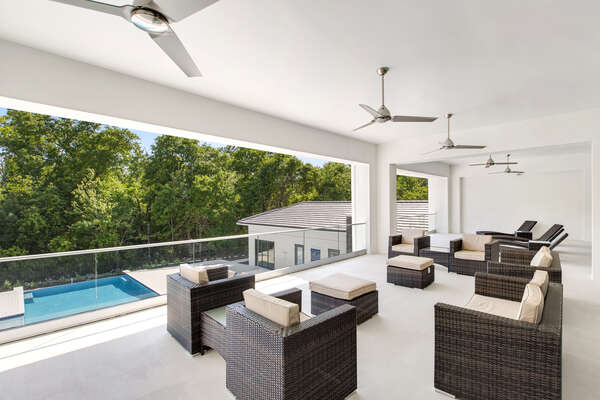 Overlook onto your own private pool and spa from the main 2nd floor balcony and enjoy evening twilights