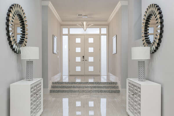 The front entrance to the home showcases the luxury of this magical villa
