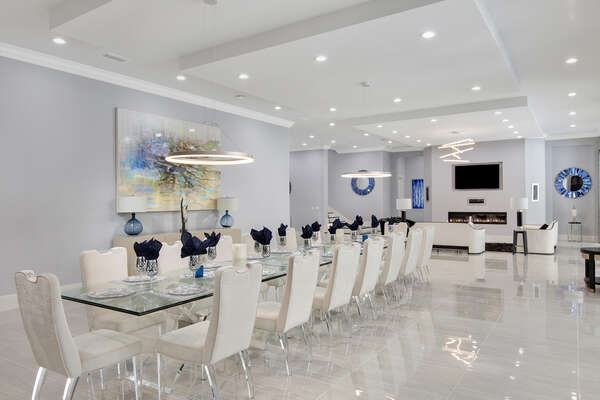 This dining room features seating for 20 people (Fireplace not allowed for guest use)