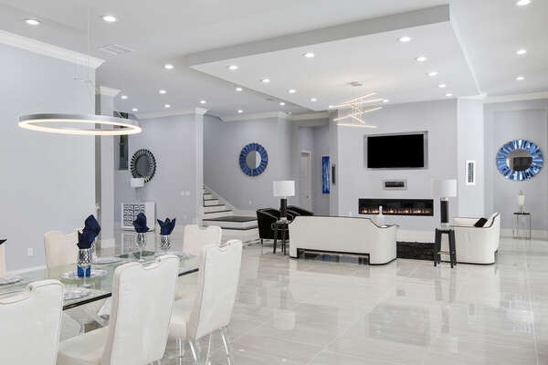 Your open living room leads into an amazing dining room perfect for dinner time (Fireplace not allowed for guest use)