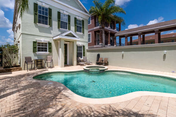 Your private courtyard includes a pool and spillover spa