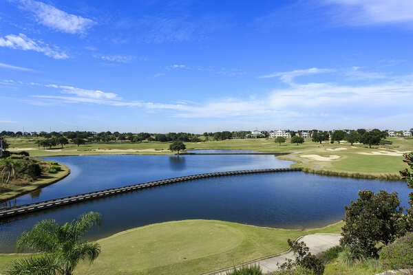 Breathtaking views of the Arnold Palmer golf course can be seen from your private balcony