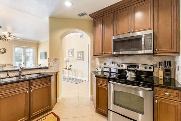 Stainless steal appliances and granite countertops