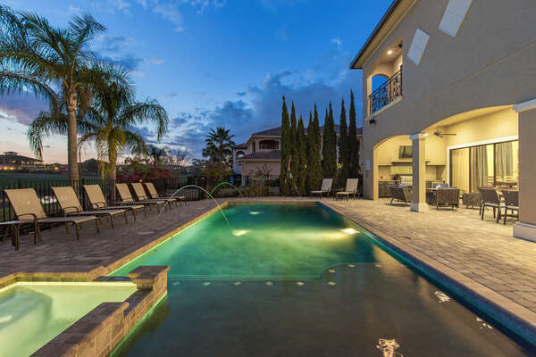 Go for a night swim, the entire pool is lit up with exterior lighting