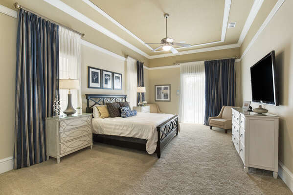 King sized bedroom with beautiful views