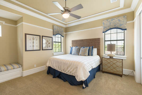 Beautiful bedroom with king-sized bed and a private balcony