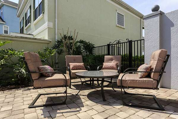 Outdoor seating perfect to relax and unwind