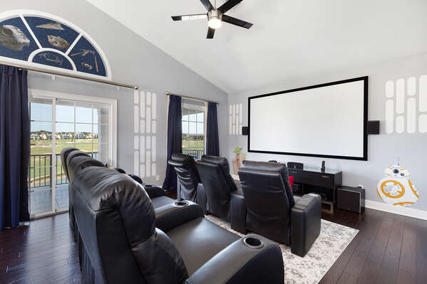 Welcome to the galaxy themed movie room located on the third floor that features a pool table and wet bar