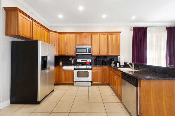 A fully equipped kitchen has everything you need to prepare a delicious meal
