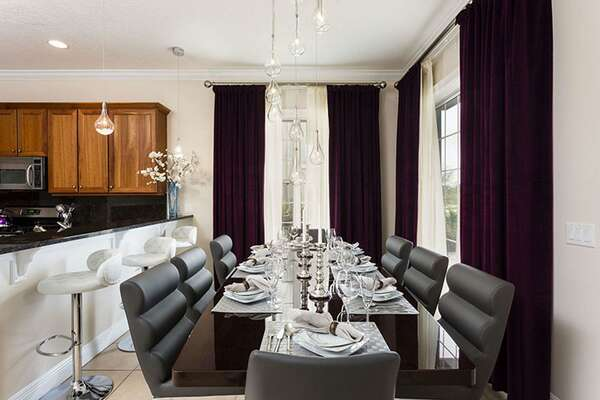 Have a family meal in the formal dining table with seating for 8