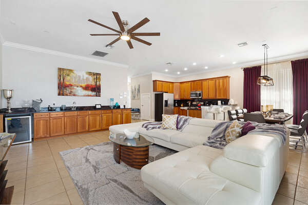 The large open-concept living area is great for gathering the whole family together