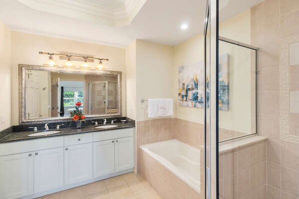 The ensuite master bathroom is very spacious