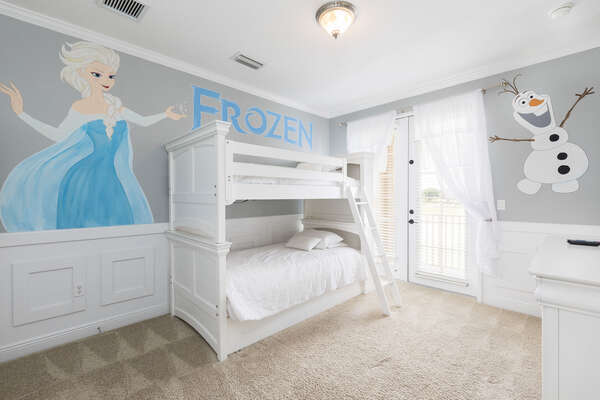 Beautiful room with twin/twin bunk bed and pull out twin trundle