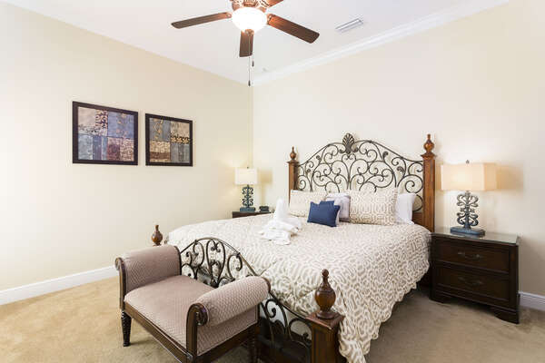 Elegant downstairs King bedroom with attached family bath