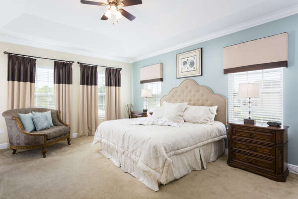 Stylish upstairs King master suite overlooking the pool