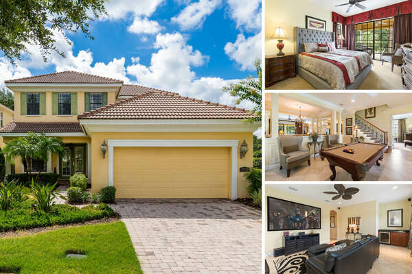Experience Radiant Bliss on your next vacation, a luxury 5 bedroom home with a movie room and game room that overlooks the Tom Watson Golf Course | PHOTOS TAKEN: June 2017