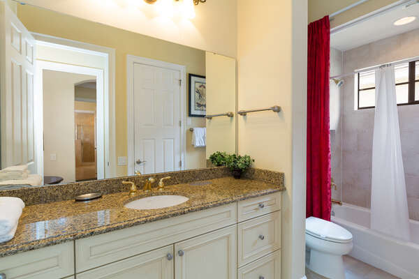Master bath with combination shower and tub