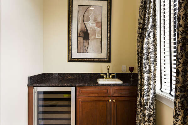 Your own wet bar with wine fridge