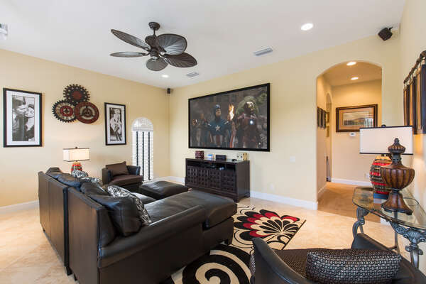 Second floor theater area with 110-inch projection screen and SMART DVD player to access Netflix and more