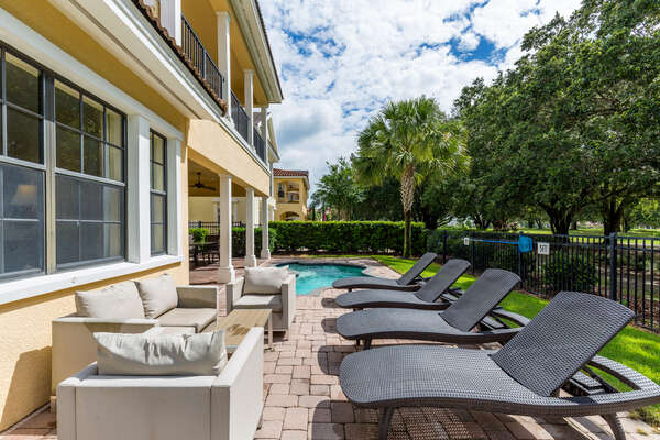 Enjoy your own patio area with sun loungers