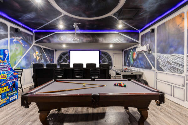 Enjoy the large air conditioned movie and games room with lots of entertainment