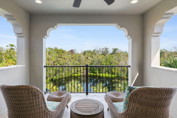 The master and loft area have access to this patio balcony