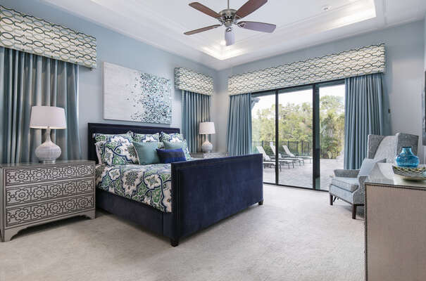 The third master suite located on the ground floor has access to the pool deck