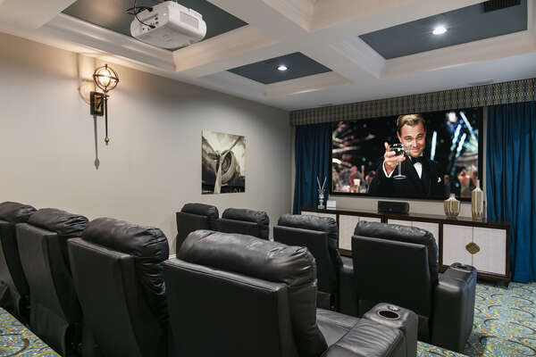 Your private theater room with a 110-inch projection screen
