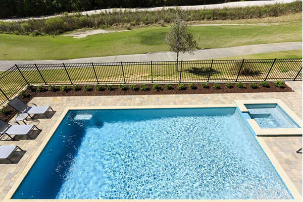 A pool view from the balcony