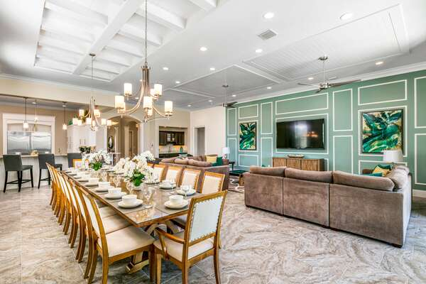 Beautiful dining table to seat up to 18 guests